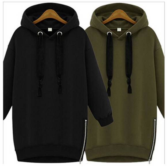 black pullover long sleeves plus size dresses casual hoodie coat hooded coat sweatshirt, new york city , hoodie army green long dress women loose dress sportswear