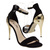 Womens Black Gold Open Toe Ankle Strap Dressy Stiletto High Heel Sandal US 8 | eBay