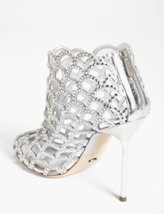 shoes silver heels open toes swarovski crystals wave