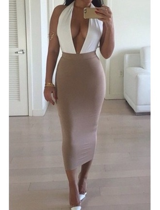 dress sexy boobs pretty skirt long skirt bodycon dress bodycon skirt fashion style sexy dress maxi skirt maxi dress curvy halter top shoes
