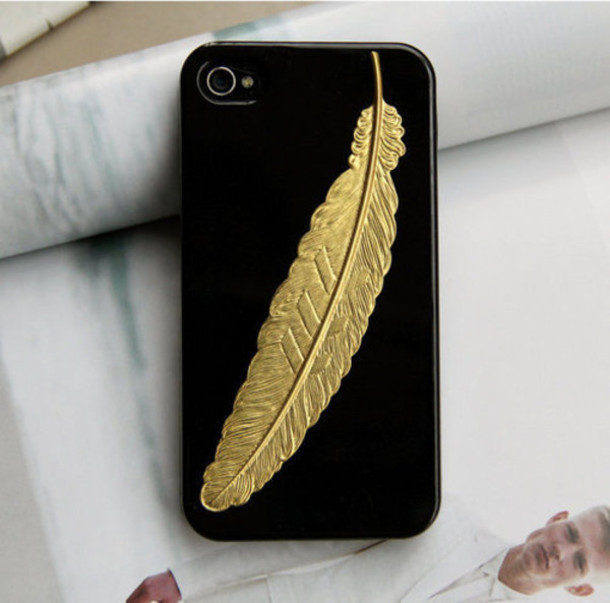 IPhone 6 Case Gold 5 Metallic 5s Black Feather 4s Floral TOUGH Cover M12