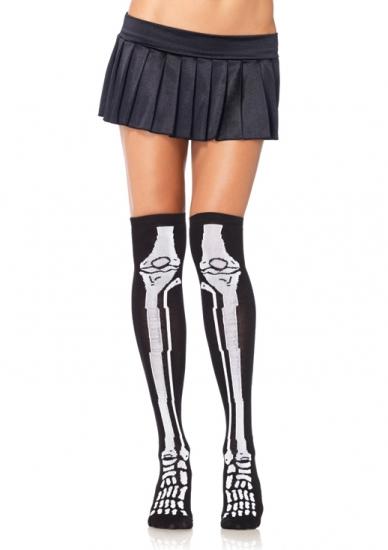 Over the knee skeleton socks (black)