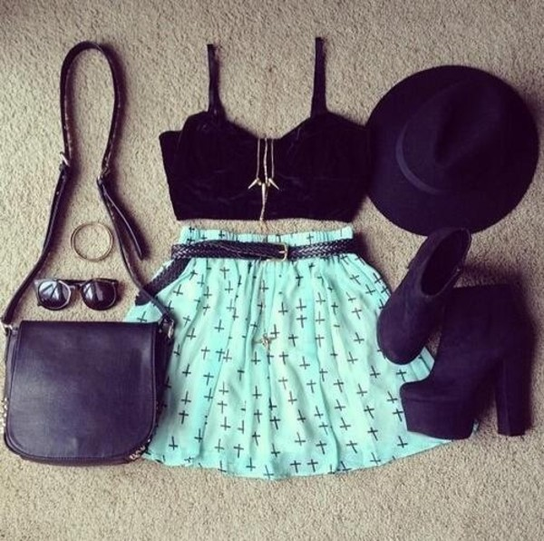 skirt clothes blue cute cross cross skirt cross print light blue shoes purse hat sunglasses i need this help clothes bag