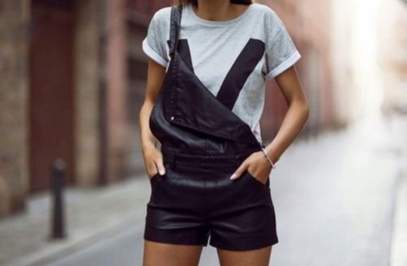 leather black perfecto romper leather overalls overalls