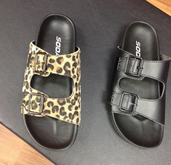 shoes leopard print buckle strap sandals sandals buckle
