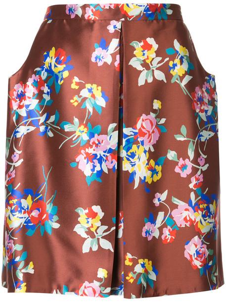 DELPOZO skirt women floral print silk brown