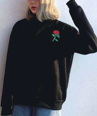 sweater black black sweater oversized oversized sweater rose tumblr