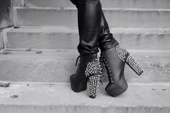studs shoes black leather silver