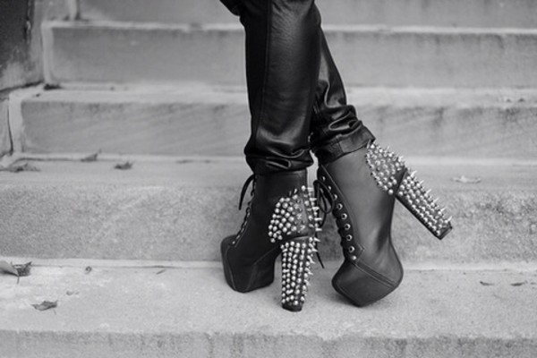 shoes black leather studs silver