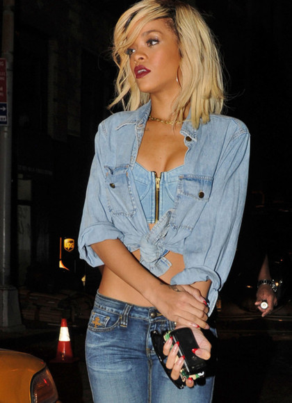 shirt jeans top rihanna swimwear