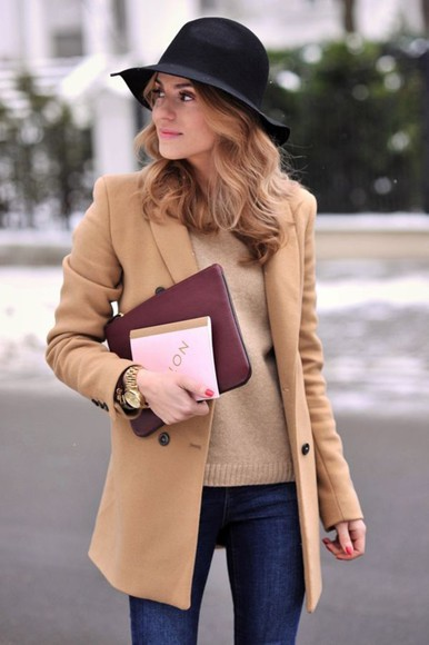 hat fall outfits camel camel coat