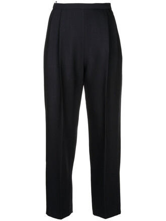 high waisted cropped high women black silk wool pants