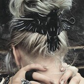 hair accessory,black,crow,wings,wing,hair,hair clip,goth,raven,exactly like this,viking,birds,blonde hair,accessories