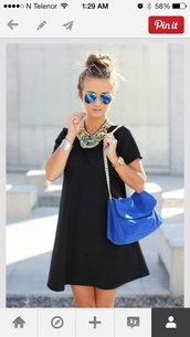 bag,blue bag,casual dress,black,jewelry,necklace,statement necklace,jewels,dress,sunglasses,black shift dress,black dress,cobalt blue