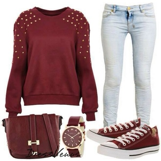 watch converse shoes skirt shirt hollister forever 21 rue 21 jewelry blouse maroon studed top jeans bag burgundy sweater red burgundy sweater purse pants clothes outfit rivets back to school jewels studs