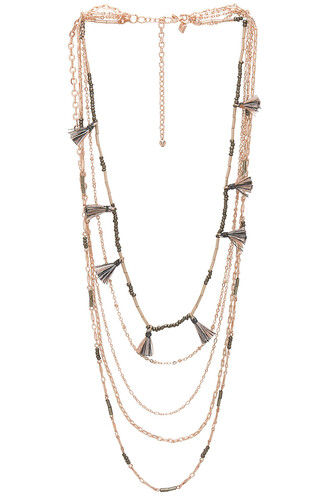 tassel layered necklace metallic copper jewels