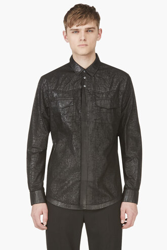 faux leather shirt black cracked clothes menswear button downs