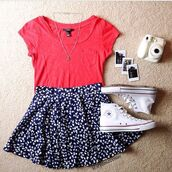 skirt,blue,flowers,white,top,t-shirt,red top