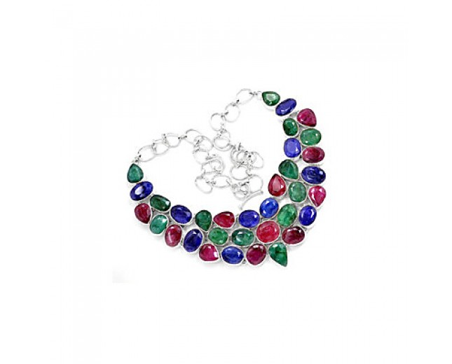 Genuine 925 sterling silver Indian Ruby Emerald And Sapphire Gemstone Cluster Necklace