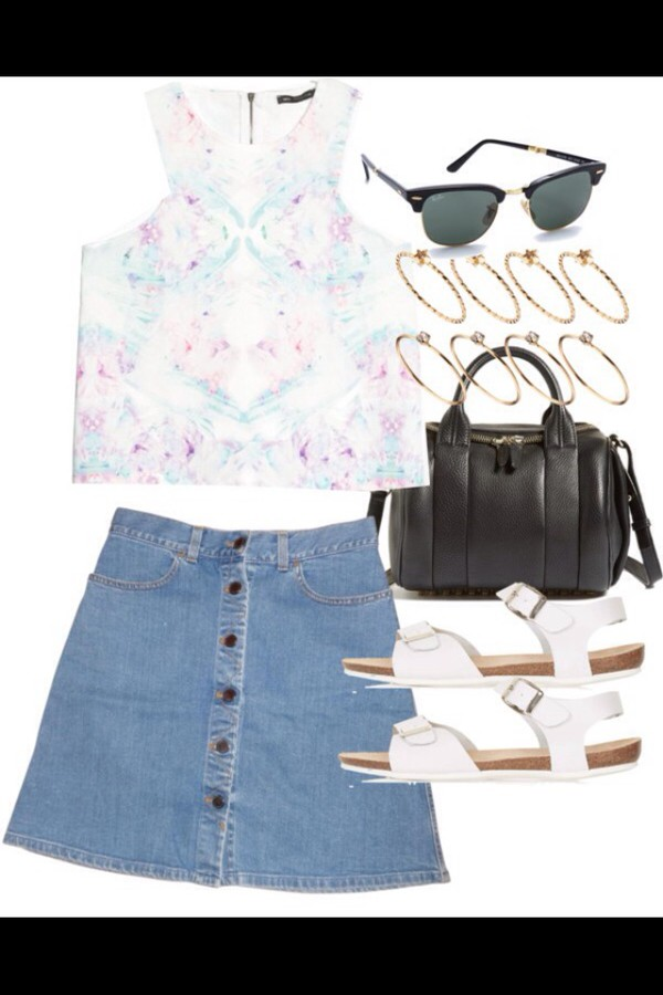 blouse denim ring indie sunglasses denim skirt