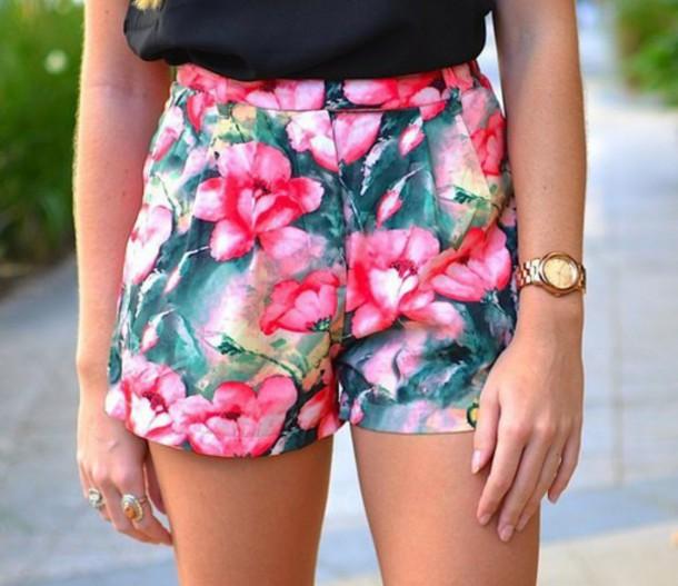 shorts flowered shorts floral summer pink