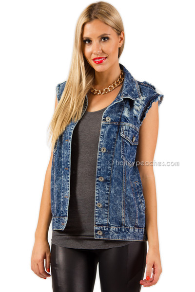 Love Stoned Denim Vest | Honey Peaches