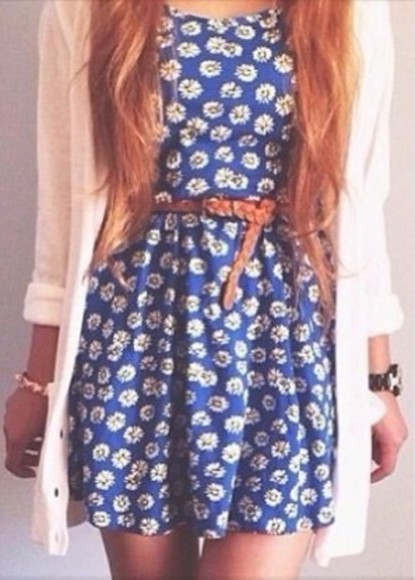 dress blue dress belt daisy dress daisy jacket cardigan white