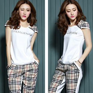 Aliexpress.com : Buy 2014 Europe Latest Fashion Women's Cotton Sexy Lips with Diamond T shirt,Capris Casual Suits Belt Sports set 2 colors from Reliable lip seal suppliers on Lady Go.
