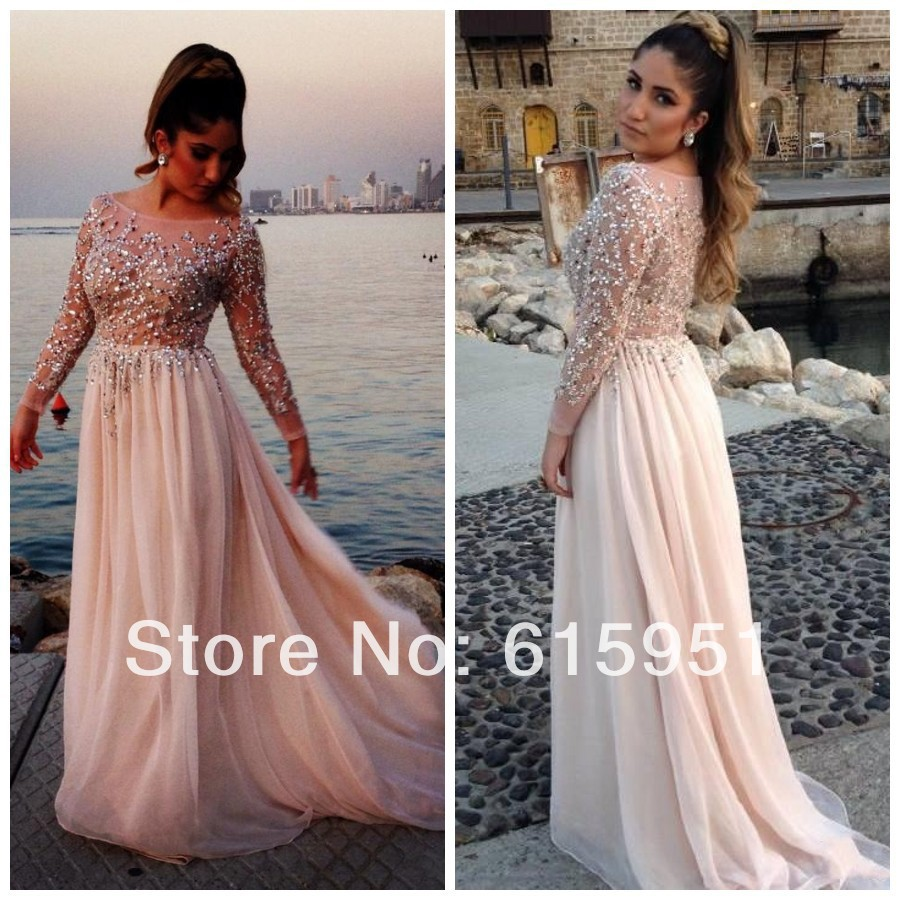 2014 Free Gift Beaded Elie Saab Prom Dresses Sheer Scoop Neck Long Sleeves A Line Floor Length Chiffon Evening Gown Dress JY1215-in Evening Dresses from Apparel & Accessories on Aliexpress.com