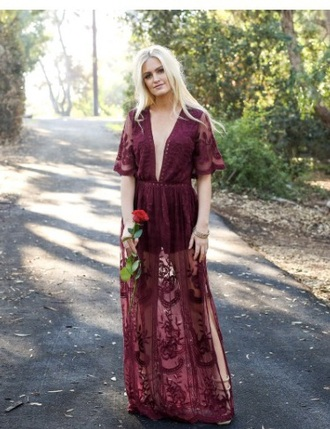 dress maroon sheer lace dress