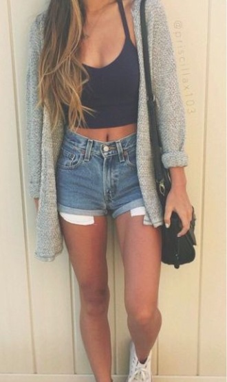 cardigan gray summer outfits cropped