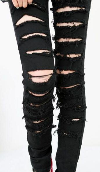 Ripped Up Black Skinny Jeans Ye Jean