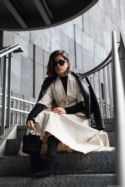 viennawedekind blogger dress jacket jewels bag shoes fall outfits leather jacket sock boots