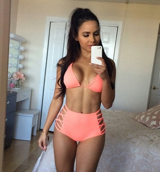 swimwear high waisted bikini strappy bikini cut-out swimsuit