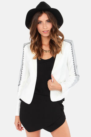 Cute Ivory Blazer - Embroidered Blazer - $66.00