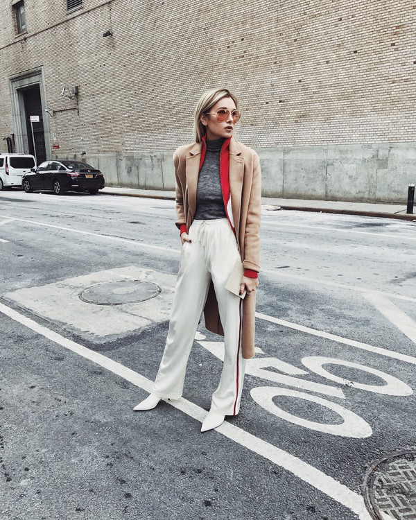 we wore what blogger blouse pants gloves shoes beige coat winter outfits white pants