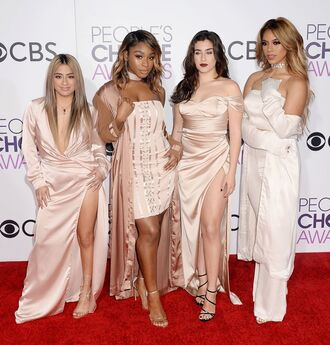 dress prom dress gown sandals fifth harmony red carpet dress mini dress wrap dress bustier dress normani kordei hamilton normani hamilton lauren jauregui dinah hansen dinah jane hansen ally brooke people's choice awards choker necklace nude dress nude coat