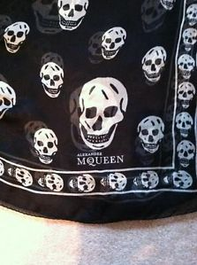 New Alexander McQueen Silk Black and White Skull Print Scarf | eBay
