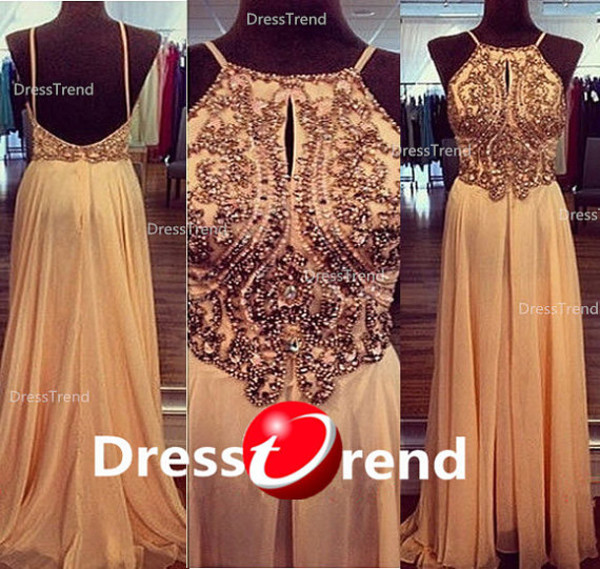dress sexy prom dress amazing prom dresses open back prom dresses champagne prom dress beaded halter neck top long homecoming dress long party dress evening dress