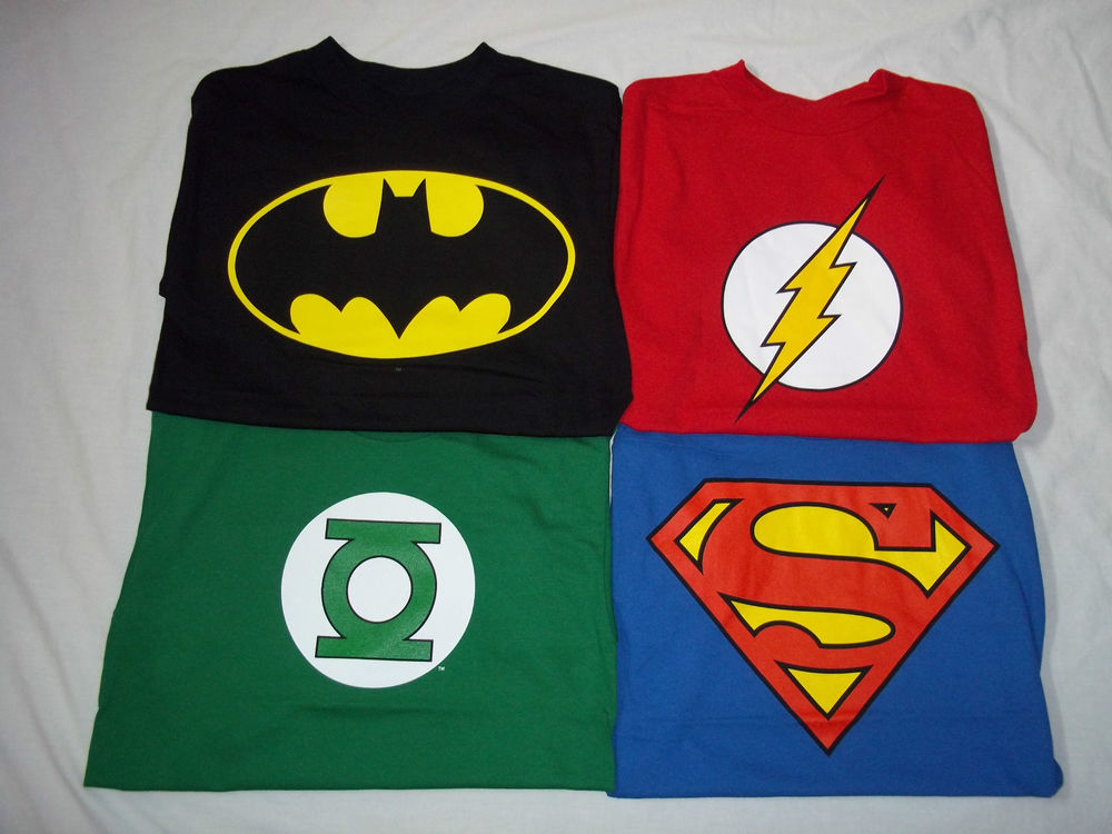 T Shirt Dc Comics Batman Flash Green Lantern Superman Ebay