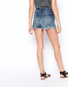 ASOS | ASOS High Waist Denim Shorts in Vintage Wash with Turn-Up Hem at ASOS