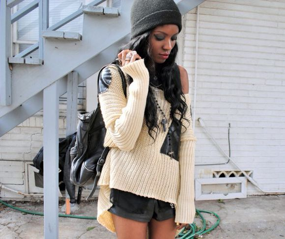 sweater elbow patch white sweater oversized sweater bag jewels shorts hat