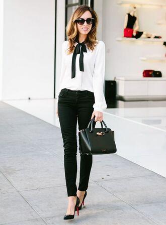 blouse work fashion black skinny jeans black jeans skinny jeans black pumps black tote office outfits white blouse bow blouse louboutin ted baker black sunglasses