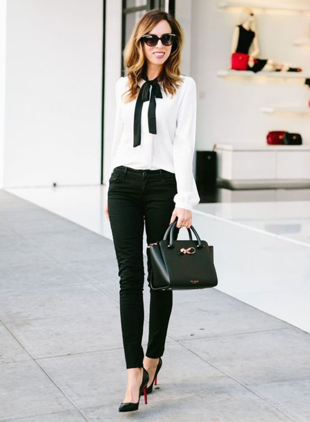 blouse, work fashion, black skinny jeans, black jeans ...
