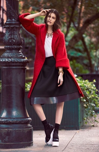 coat fashion style skirt red coat black skirt