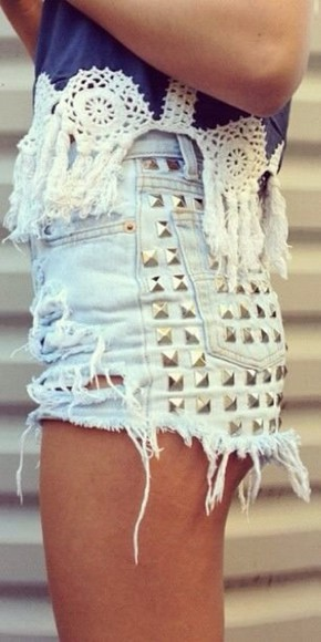 shorts high waisted short studs cut off shorts cute cute shorts blue blue shorts distressed distressed shorts shirt