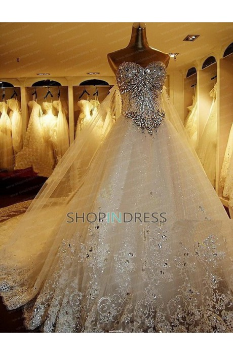 Line sweetheart floor length organza ivory wedding dress with beaded npd2036 sale at shopindress.com
