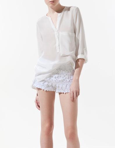 chemisier en soie avec poche chemises femme zara france. Black Bedroom Furniture Sets. Home Design Ideas