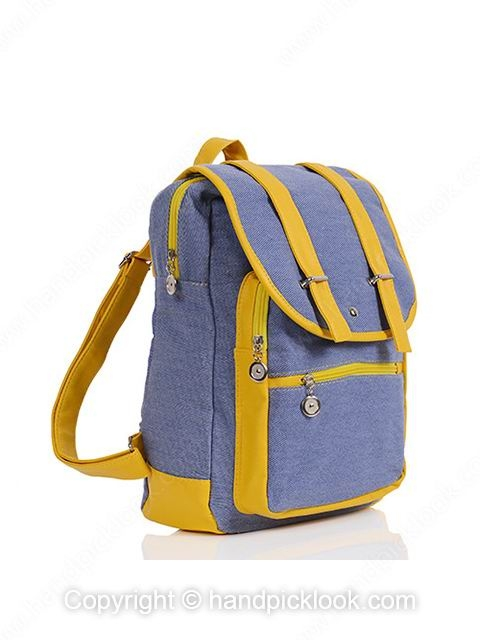 Yellow Zipper Simple Canvas Backpack - HandpickLook.com