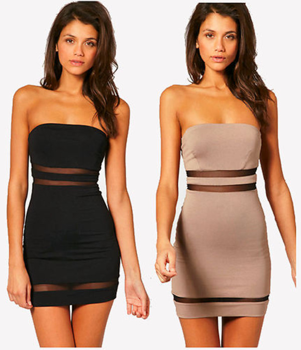 dress mesh cut-out cute dress black shear strapless dress black dress bodycon dress short dress